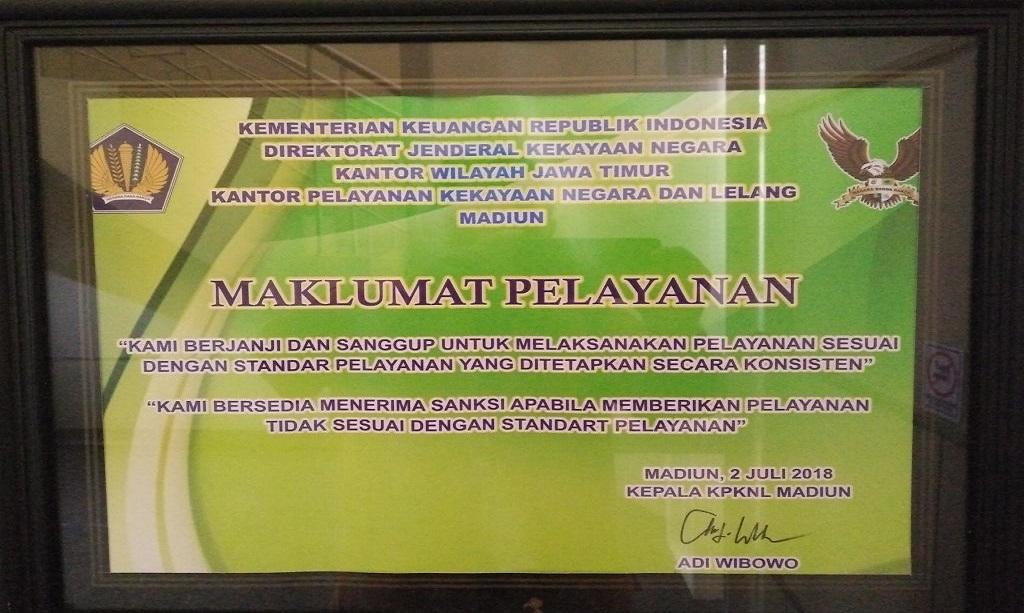 Maklumat Pelayanan KPKNL Madiun