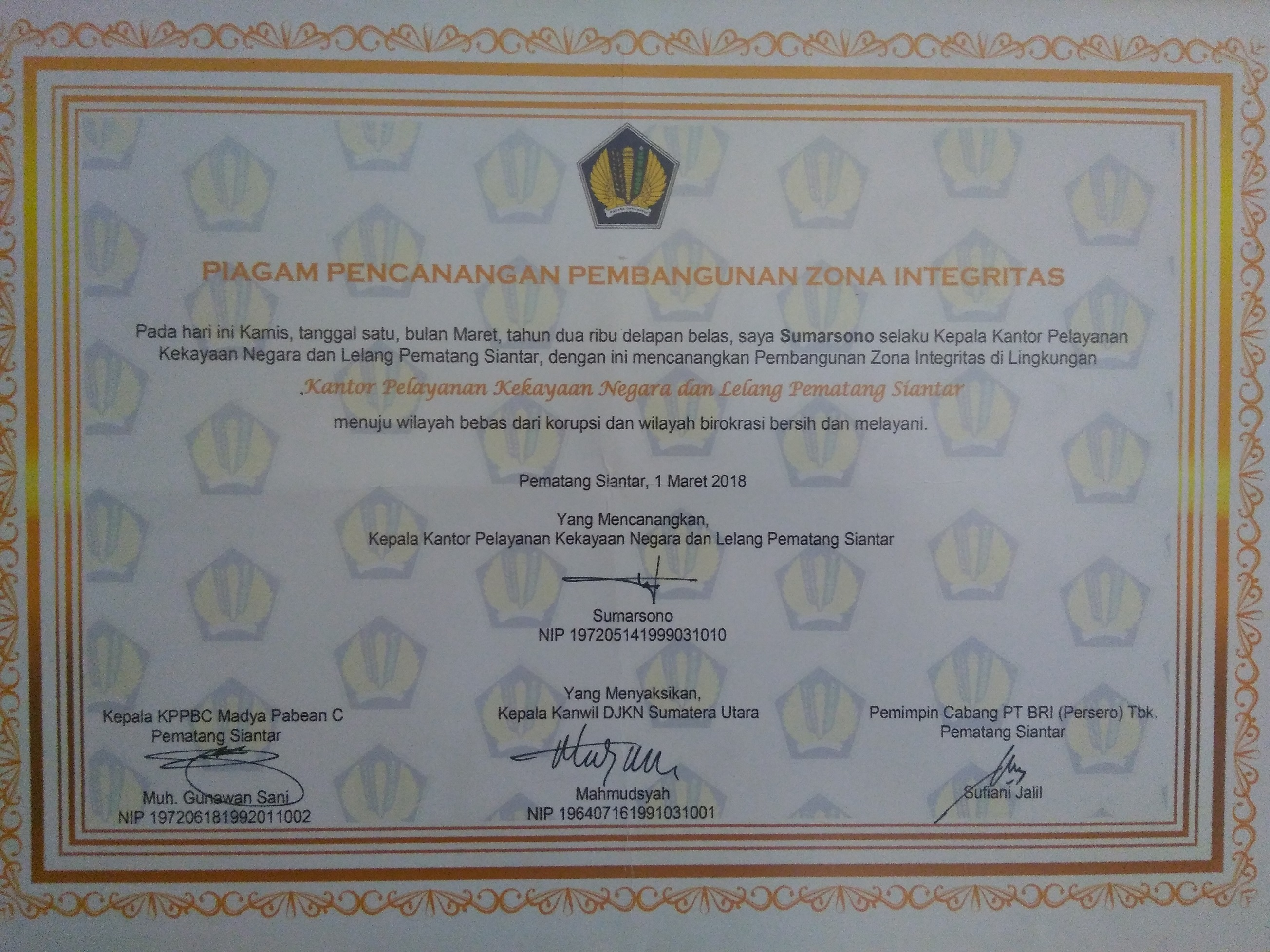 KPKNL Pematangsiantar menuju Wilayah Bebas Korupsi dan Wilayah Birokrasi Bersih Melayani.