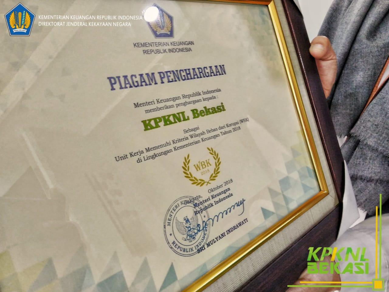 KPKNL BEKASI sebagai Unit Kerja yang memenuhi Kriteria Wilayah Bebas dari Korupsi (WBK) tahun 2018