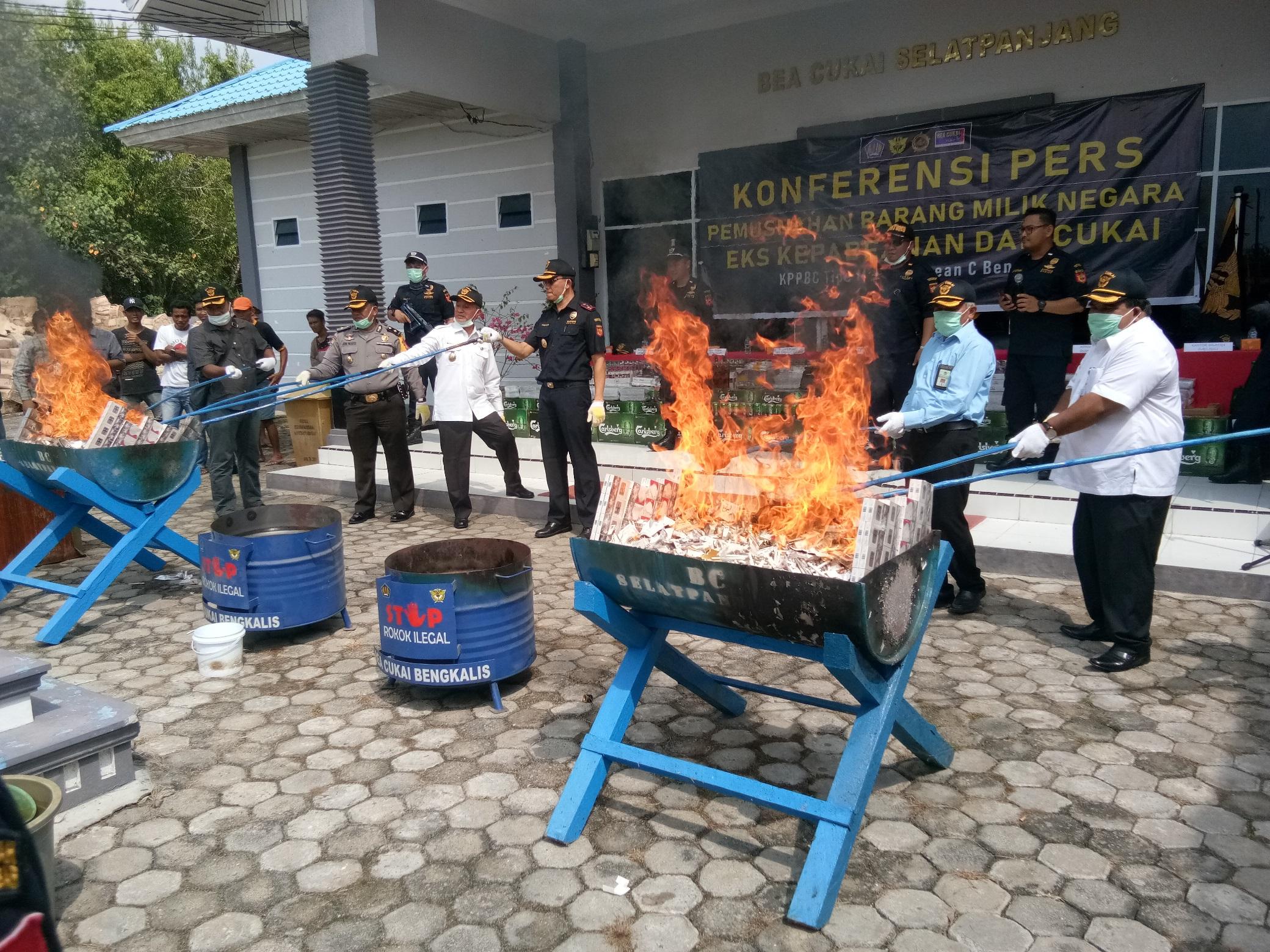 KPKNL Dumai Setujui Pemusnahan BMN Barang Tegahan KPPBC TMP C Bengkalis