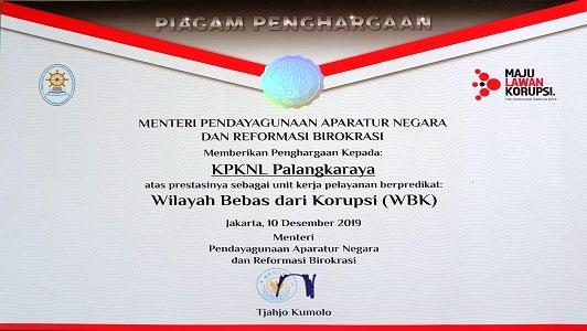 KPKNL Palangka Raya Meraih Predikat Wilayah Bebas dari Korupsi dari MENPAN-RB