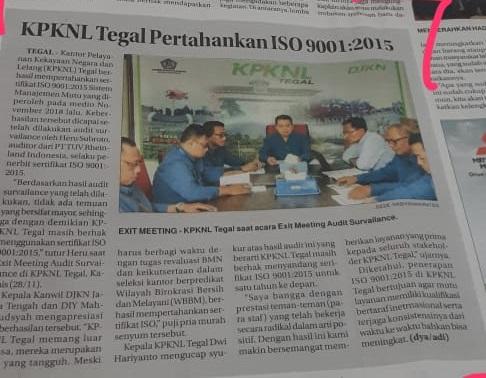 KPKNL Tegal Pertahankan Sertifikat ISO 9001:2015