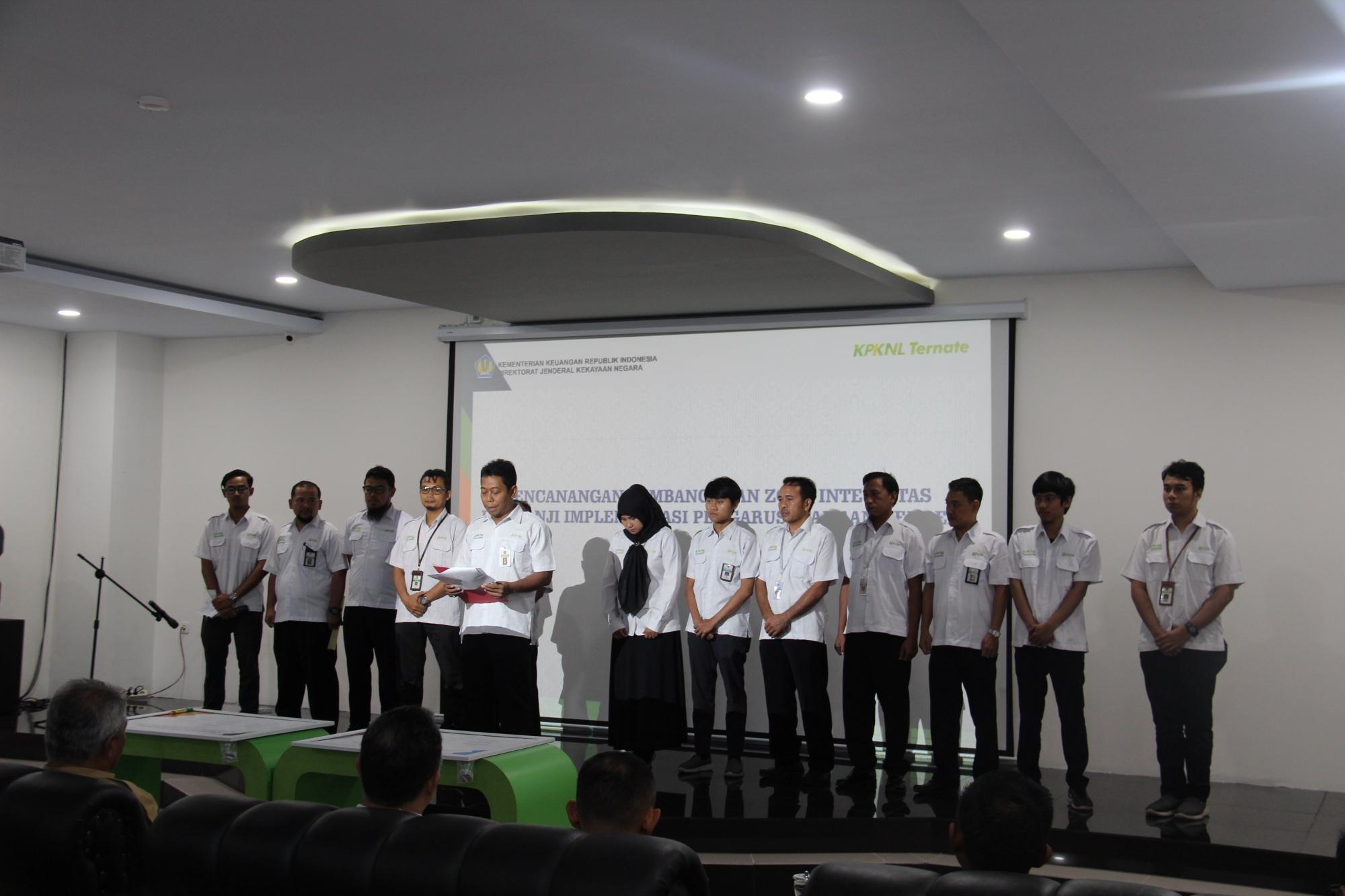 KPKNL Ternate Lakukan Pencanangan WBK/WBBM dan Janji Implementasi PUG