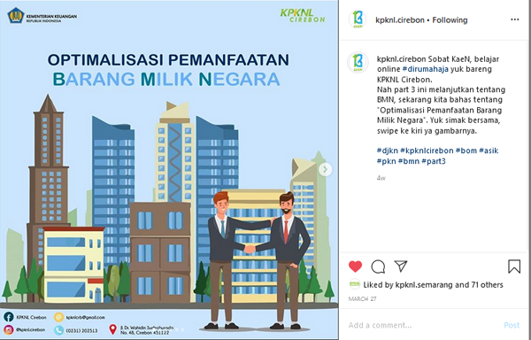 Instagram KPKNL Cirebon Masuk 10 Besar Terbaik