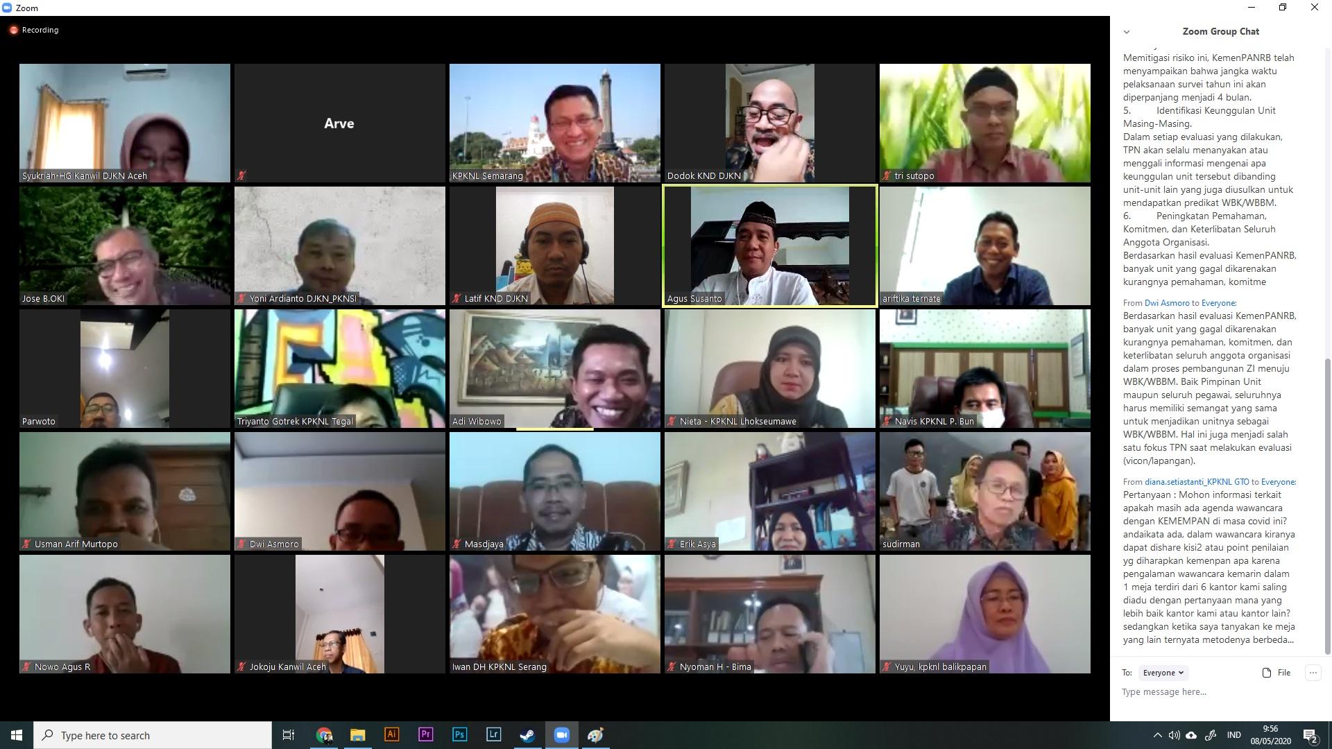 Zoom Meeting - Monitoring Pembangunan ZI WBK/WBBM 2020
