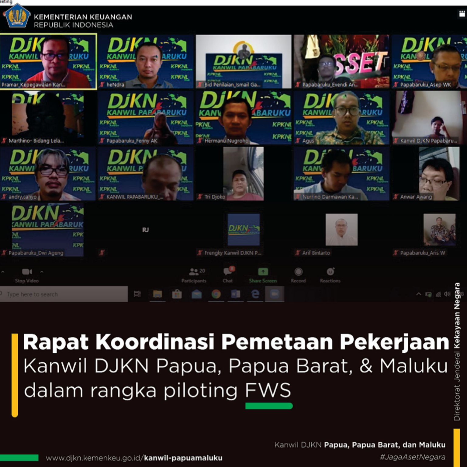 Koordinasi Pemetaan Pekerjaan Kanwil DJKN Papabaruku Dalam Rangka Piloting Kebijakan Flexible Working Space Kementerian Keuangan