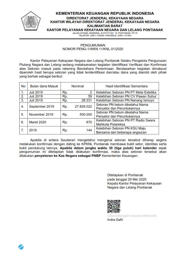 Pengumuman atas dana Mengendap pada Rekening Bendahara Penerimaan KPKNL Pontianak per 31 Maret 2020