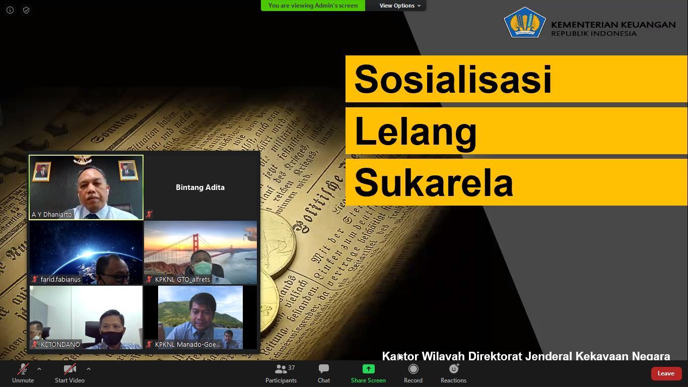 Kanwil DJKN Suluttenggomalut Bersama KPKNL Manado Sosialisasikan Layanan Lelang Melalui Webinar