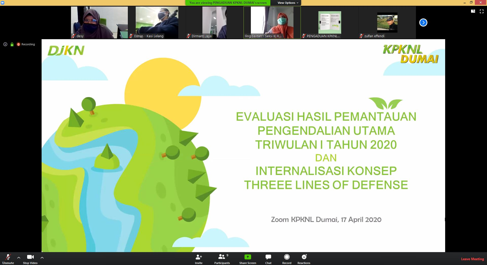 Berita DJKN KPKNL Dumai Laksanakan Rapat Evaluasi Hasil Pemantauan Pengendalian Utama Triwulan I Tahun 2020 Secara Online