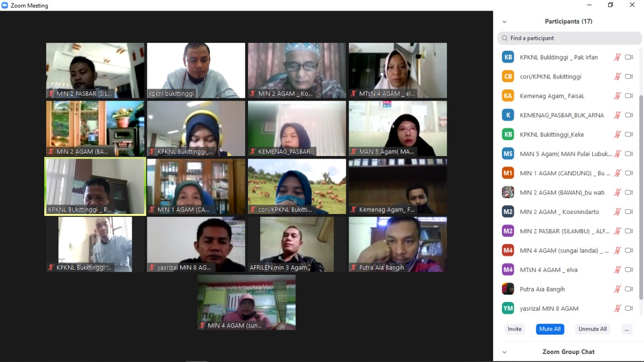 Meeting Online bersama satuan kerja, KPKNL Bukittinggi Ajak Peningkatan Koordinasi dan Komunikasi