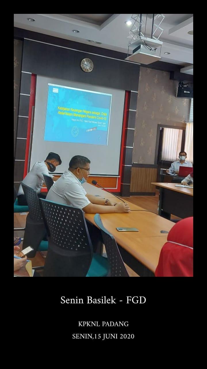KPKNL Padang adakan FGD : Kebijakan Keuangan Negara dan Kebijakan Sektor Keuangan sebagai Crisis Relief dalam Menangani Pandemi Covid-19