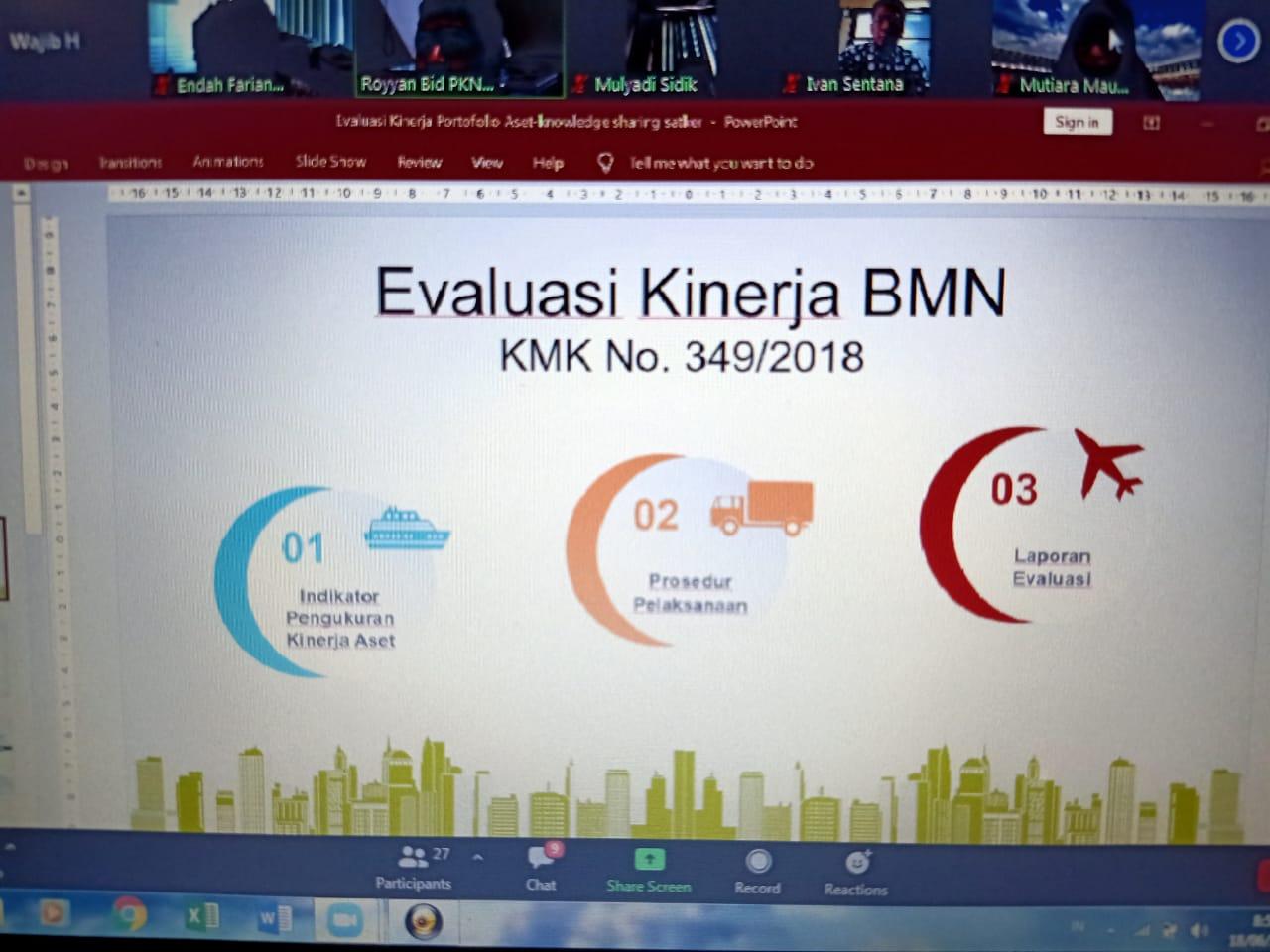 Kejar Target Pengelolaan kekayaan Negara, KPKNL Jakarta III Adakan Sosialisasi Evaluasi Kinerja Portofolio Aset Bersama Satker