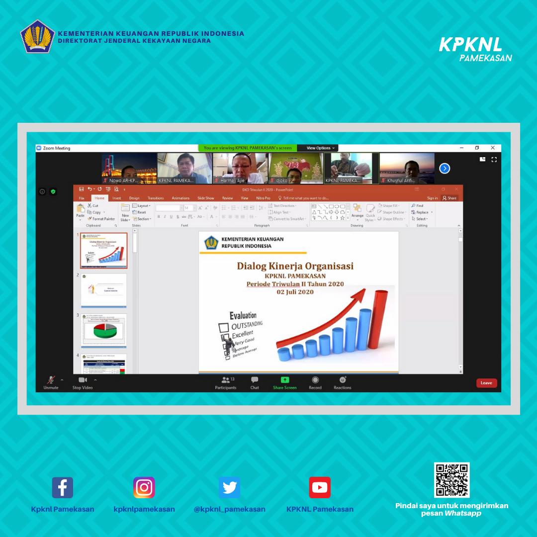 KPKNL Pamekasan Laksanakan Dialog Kinerja Organisasi (DKO) Triwulan II Tahun 2020 untuk Terus Meningkatkan Kinerja