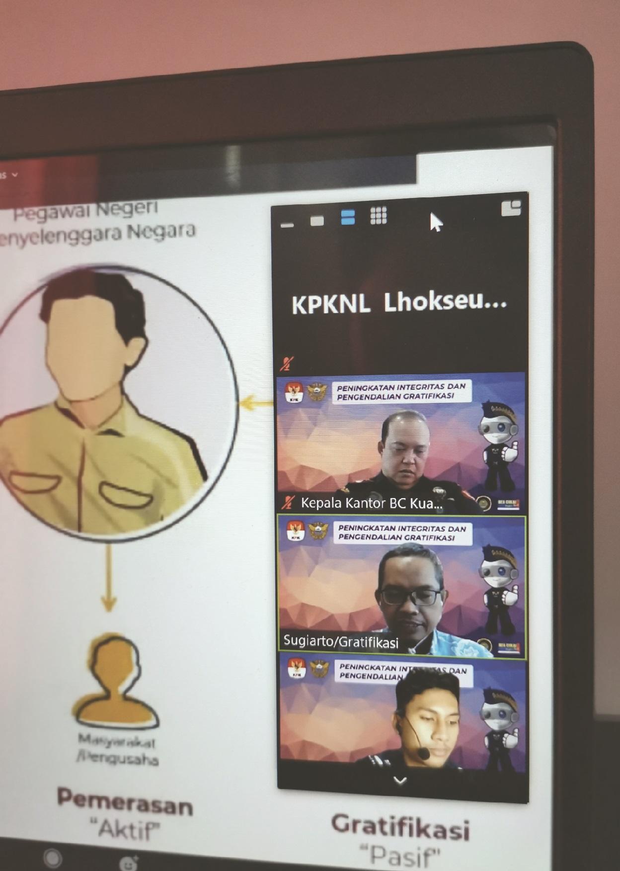 Lakukan Penguatan Reformasi Birokasi, KPKNL Lhokseumawe Hadiri Webinar Peningkatan Integritas dan Pengendalian Gratifikasi