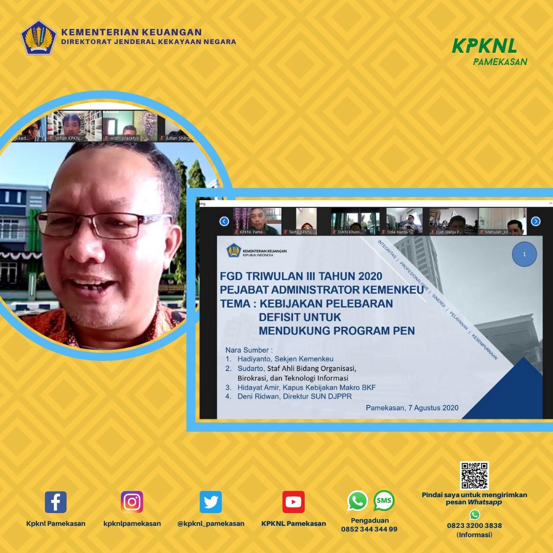 """""""Kebijakan Defisit untuk Mendukung Program Pemulihan Ekonomi Nasional (PEN)"""" FGD Triwulan III Tahun 2020"""