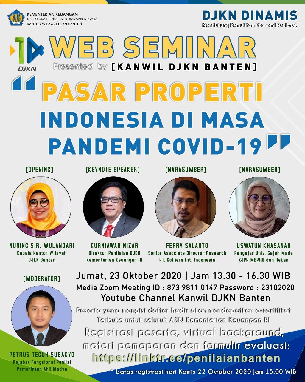 "Kanwil DJKN Banten Adakan Webinar ""Pasar Properti Indonesia Di Masa Pandemi Covid-19"""