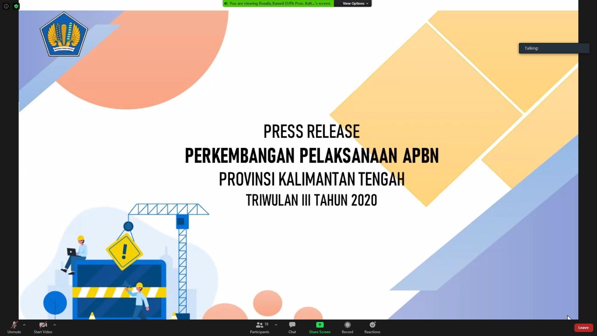 Press Release Perkembangan Pelaksanaan APBN Provinsi Kalimantan Tengah Triwulan III Tahun 2020