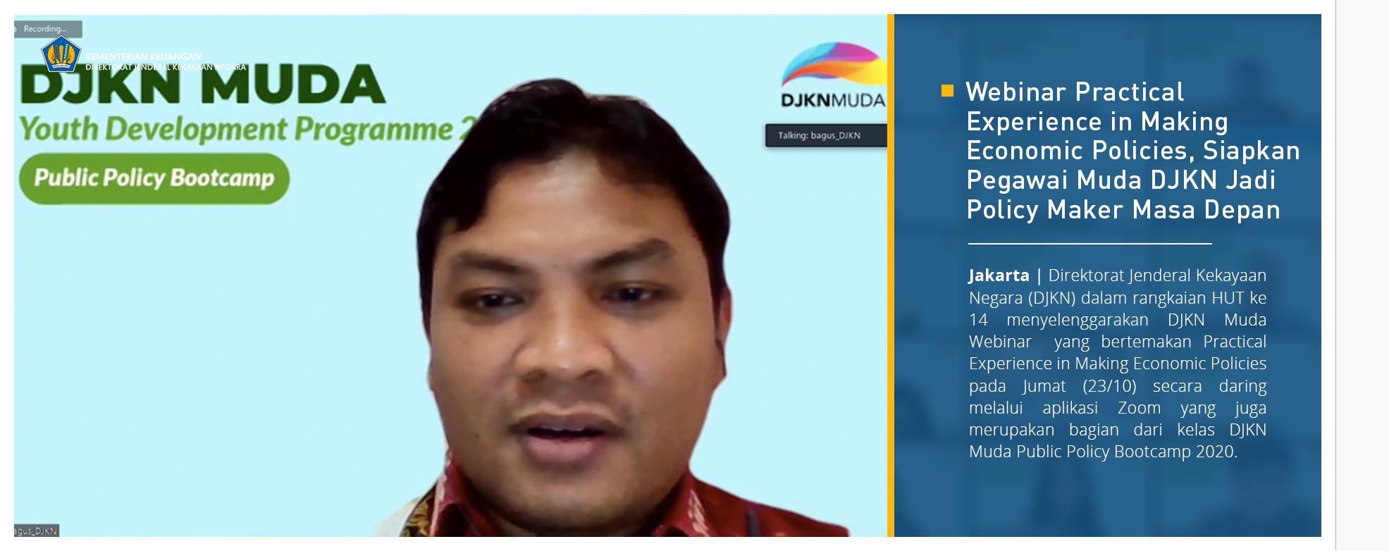 Webinar Practical Experience in Making Economic Policies, Siapkan Pegawai Muda DJKN Jadi Policy Maker Masa Depan