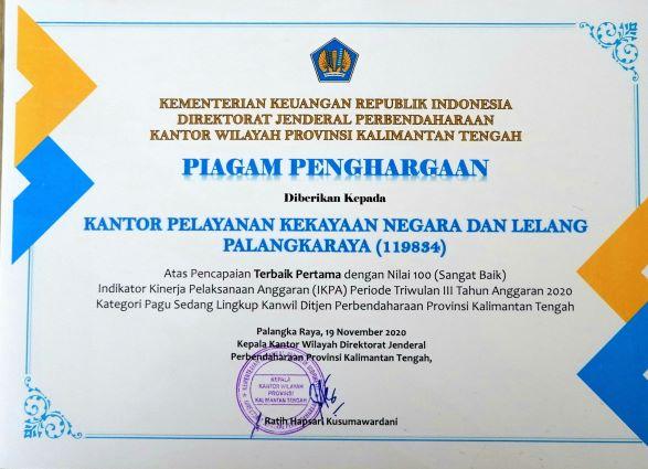 KPKNL Palangka Raya Raih Penghargaan Atas Pencapaian Terbaik IKPA Triwulan III TA 2020