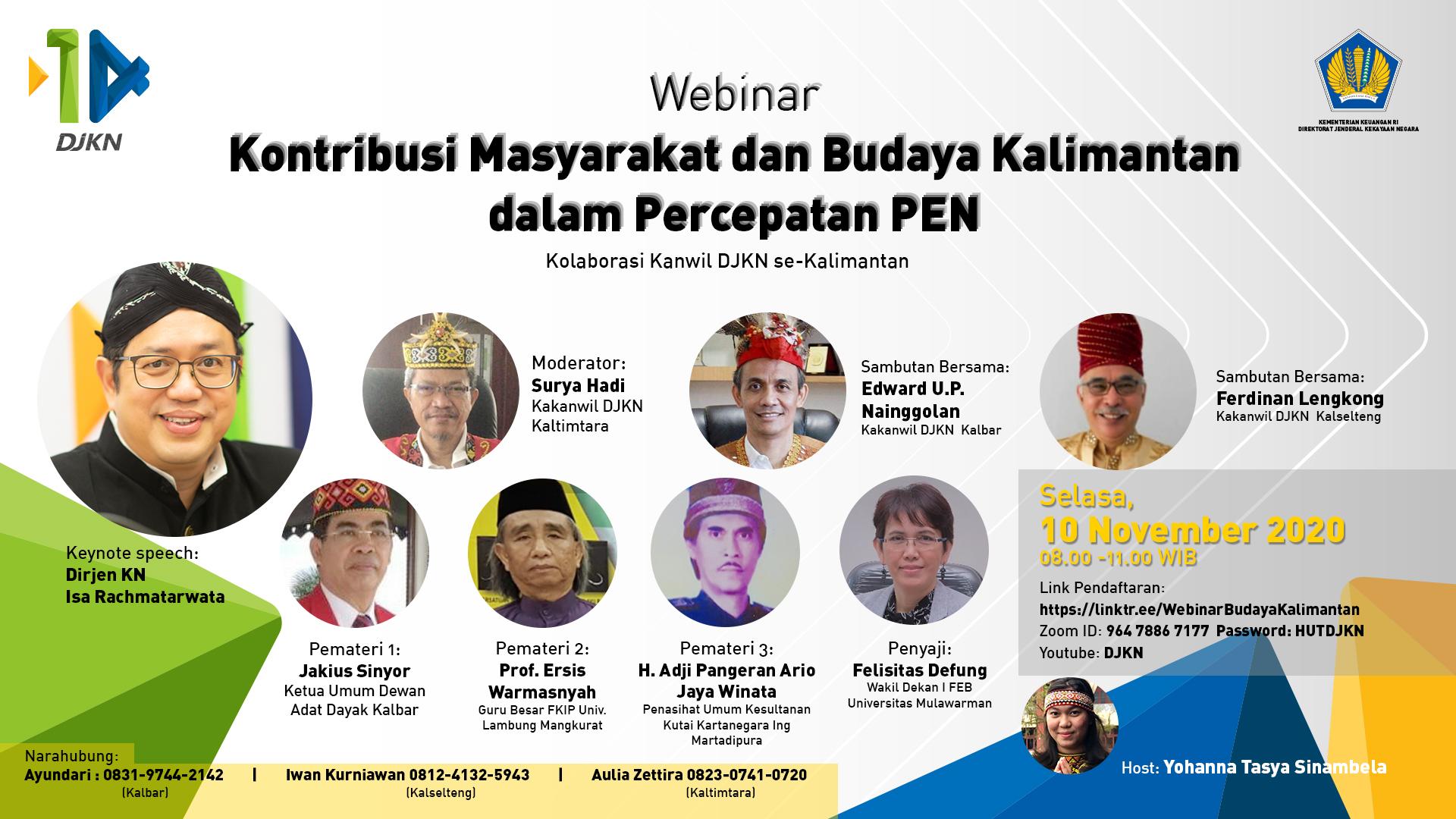 Webinar Kontribusi Masyarakat dan Budaya Kalimantan dalam Percepatan PEN