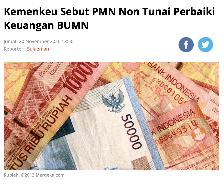 Kemenkeu Sebut PMN Non Tunai Perbaiki Keuangan BUMN