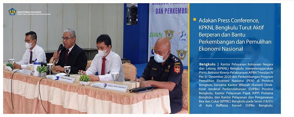 Adakan Press Conference, KPKNL Bengkulu Turut Aktif Berperan dan Bantu Perkembangan dan Pemulihan Ekonomi Nasional
