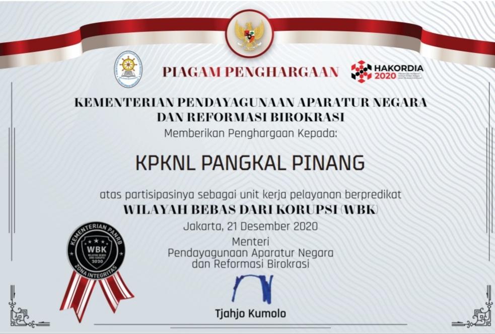 KPKNL Pangkalpinang Meraih Predikat Wilayah Bebas dari Korupsi (WBK)