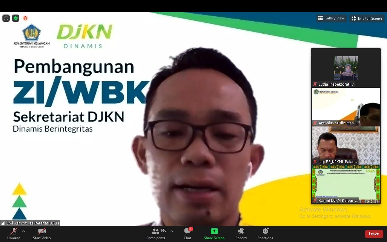 KPKNL Palangka Raya Ikuti Asistensi Pembangunan ZI WBK/WBBM Unit Kerja DJKN Tahun 2021