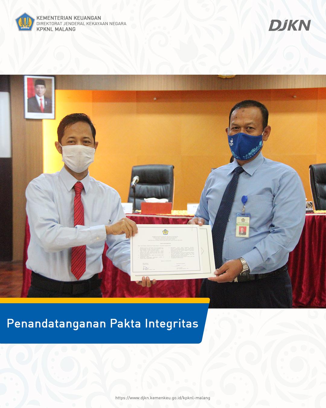 Penandatanganan Pakta Integritas  dan  sebagai Komitmen KPKNL Malang  membangun Zona Integritas menuju WBK/WBBM