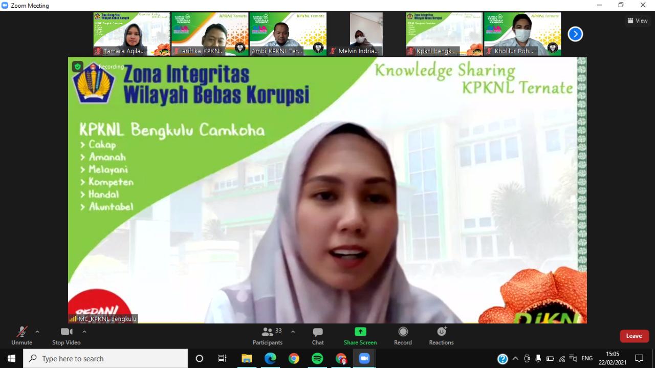 KPKNL Ternate Transfer Ilmu dengan KPKNL Bengkulu dalam Program Pembangunan ZI WBK