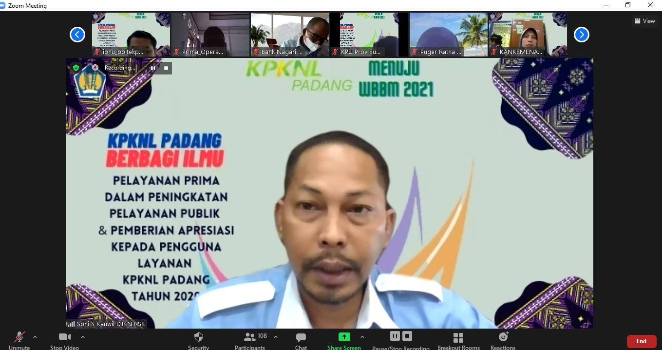 KPKNL Padang berbagi ilmu : Service Excellent di Era New Normal & Pemberian Apresiasi kepada pengguna layanan KPKNL Padang