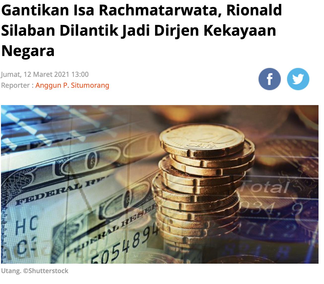Gantikan Isa Rachmatarwata, Rionald Silaban Dilantik Jadi ...