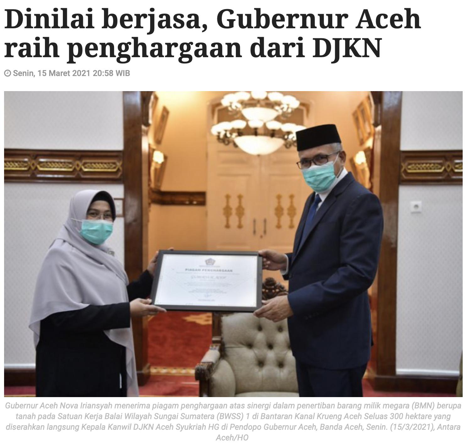 Dinilai berjasa, Gubernur Aceh raih penghargaan dari DJKN