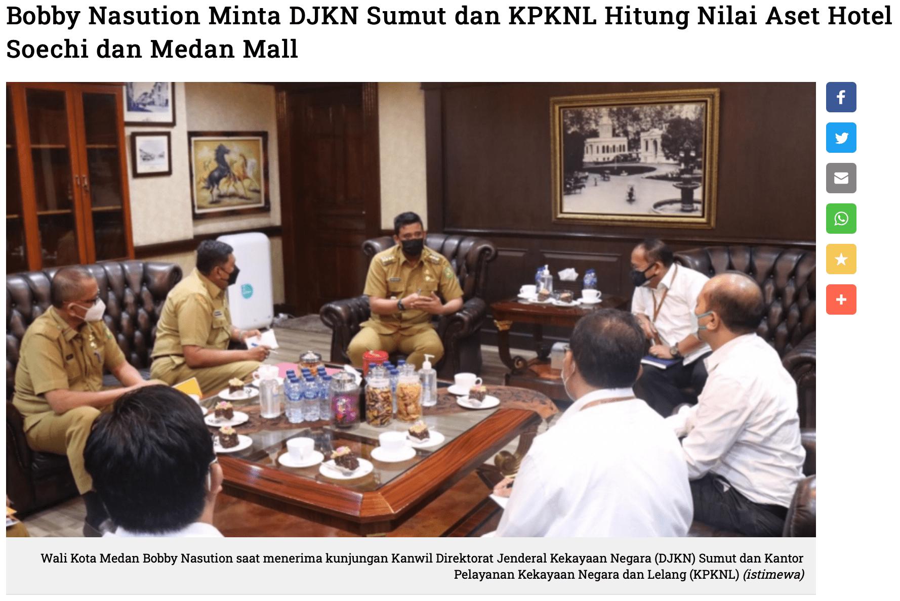 Bobby Nasution Minta DJKN Sumut dan KPKNL Hitung Nilai Aset Hotel Soechi dan Medan Mall