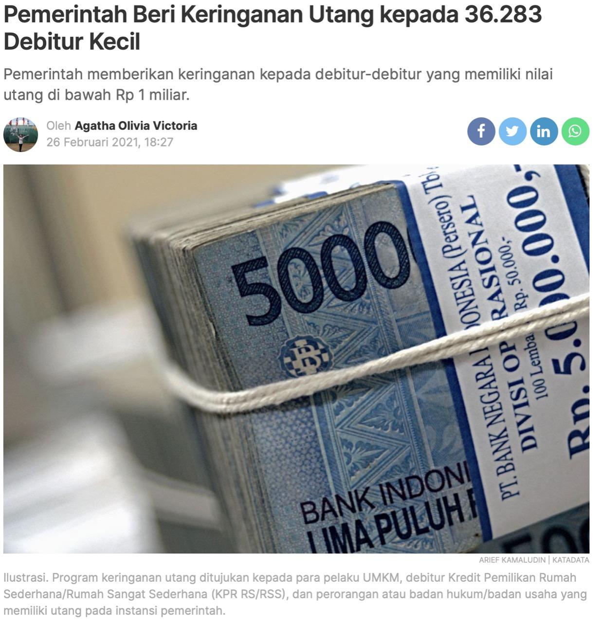 Pemerintah Beri Keringanan Utang kepada 36.283 Debitur Kecil