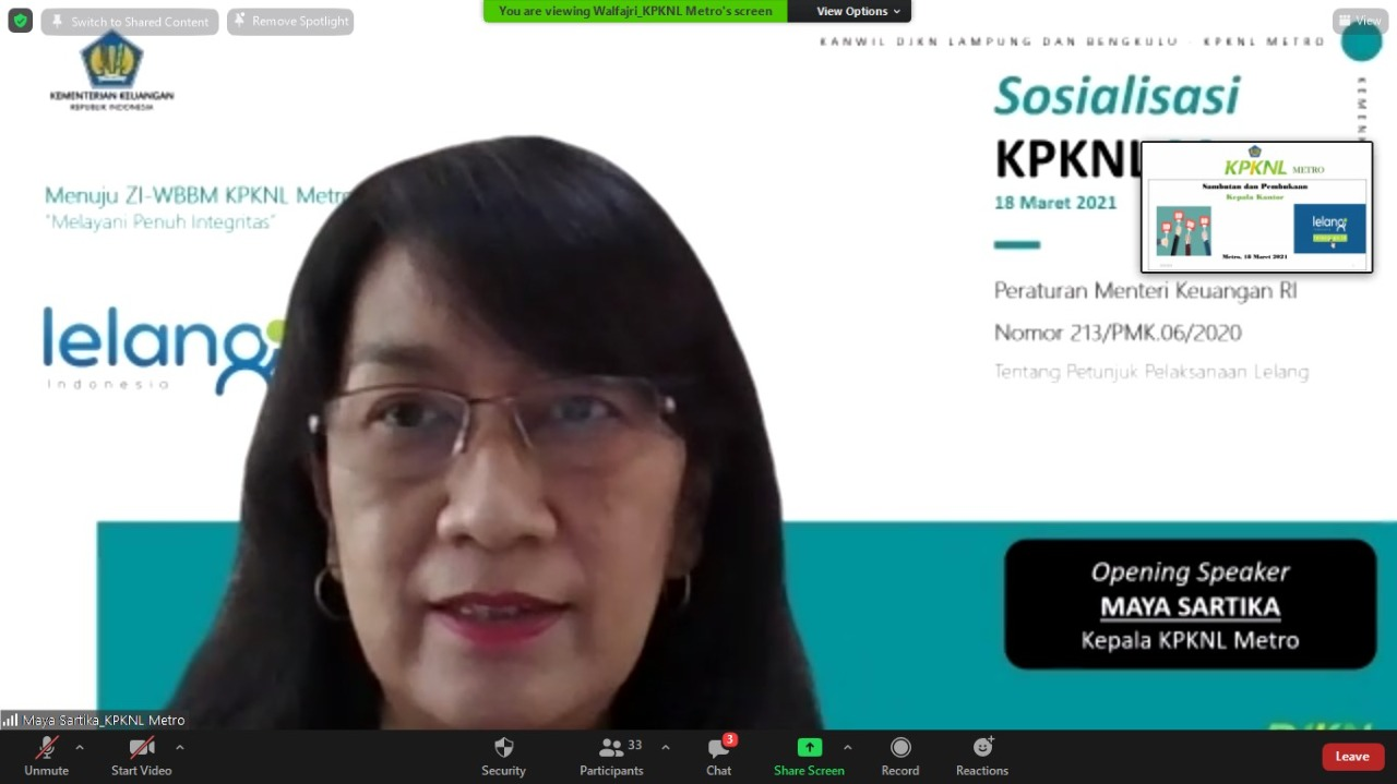 KPKNL METRO LAKSANAKAN SOSIALISASI PMK NOMOR 213/PMK.06/2020