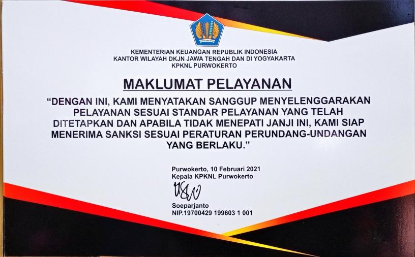 Maklumat Pelayanan KPKNL Purwokerto