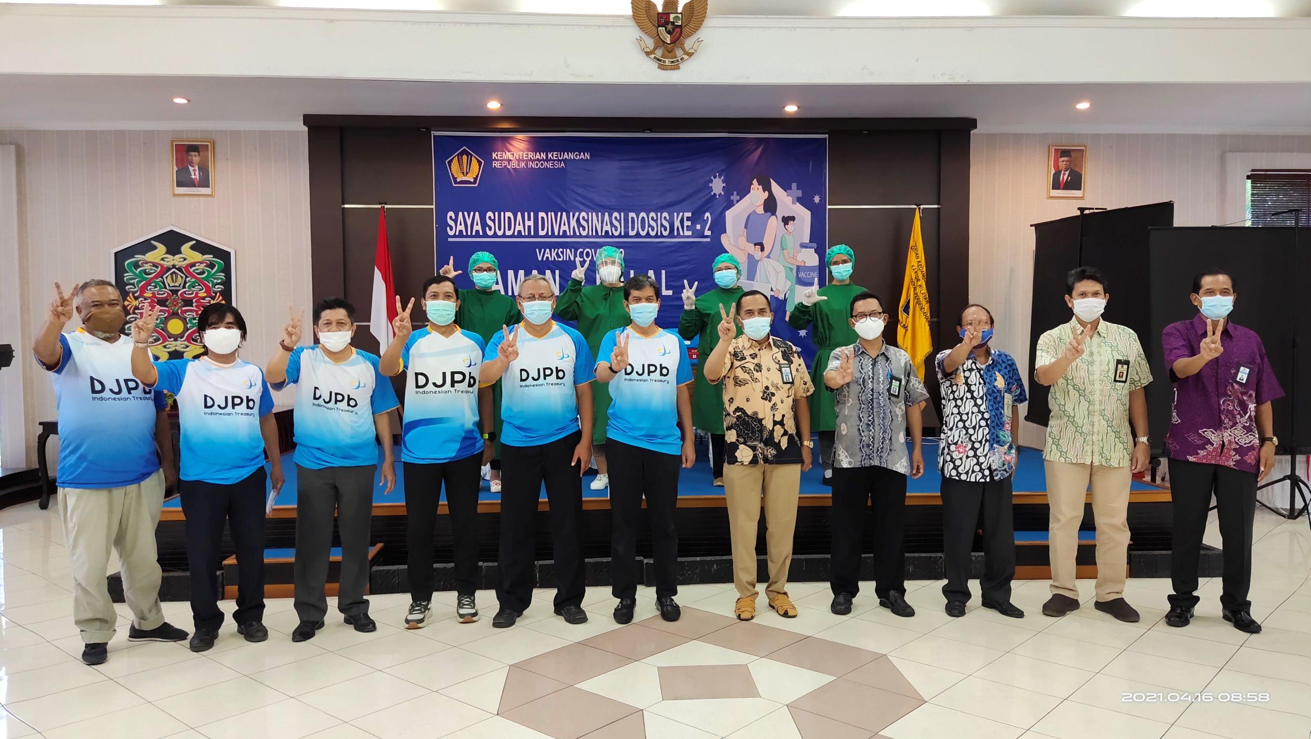 KPKNL Palangka Raya Turut Berpartisipasi dan Mendukung Pelaksanaan Vaksinasi  Covid- 19 Tahap II Pegawai Kementerian Keuangan Palangka Raya