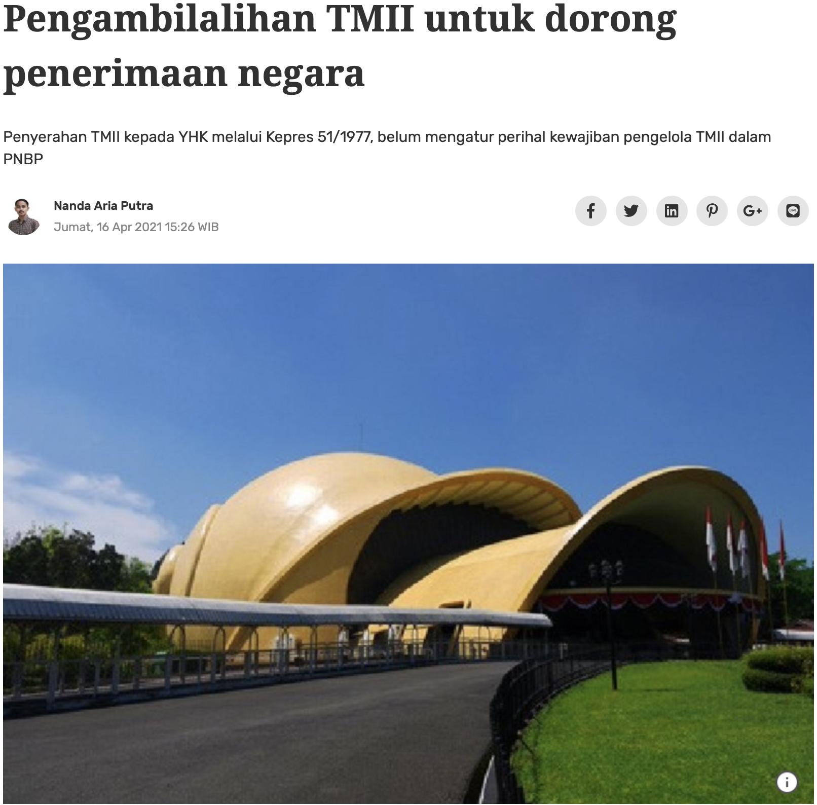 Pengambilalihan TMII untuk dorong penerimaan negara