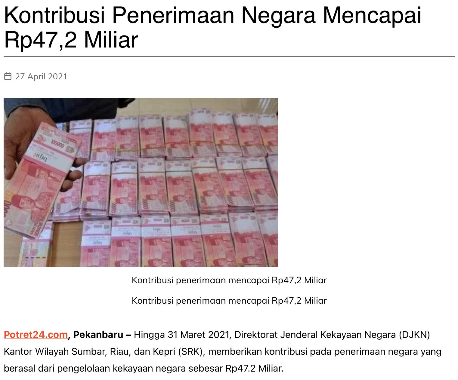 Kontribusi Penerimaan Negara Mencapai Rp47,2 Miliar