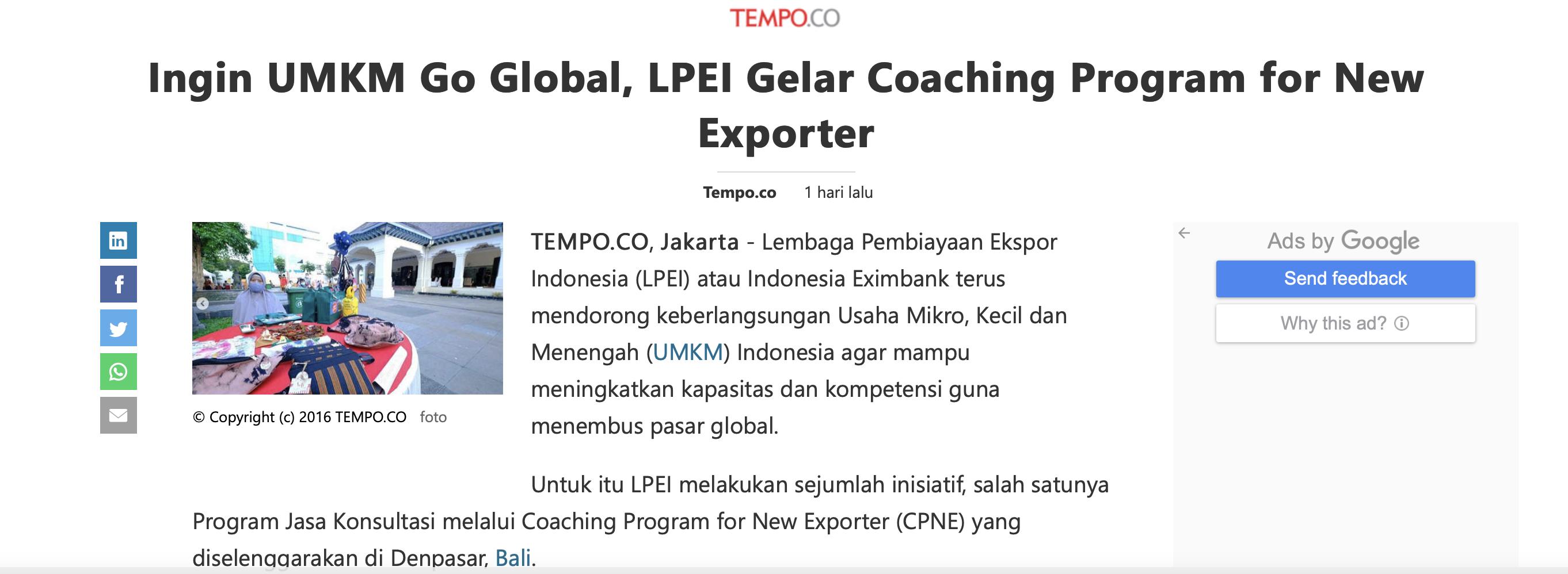Ingin UMKM Go Global, LPEI Gelar Coaching Program for New Exporter