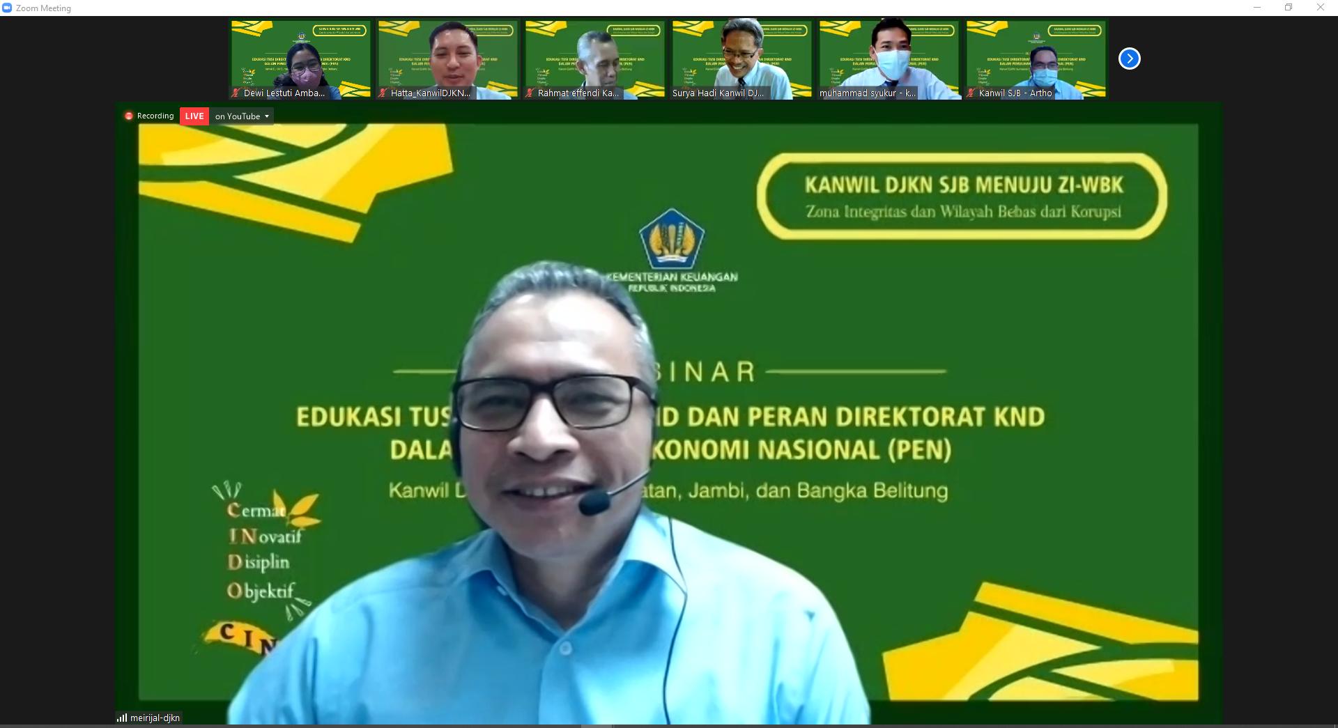 Dalami Pentingnya KND dalam PEN, Kanwil DJKN SJB Adakan Webinar Mengenal Tusi Direktorat KND