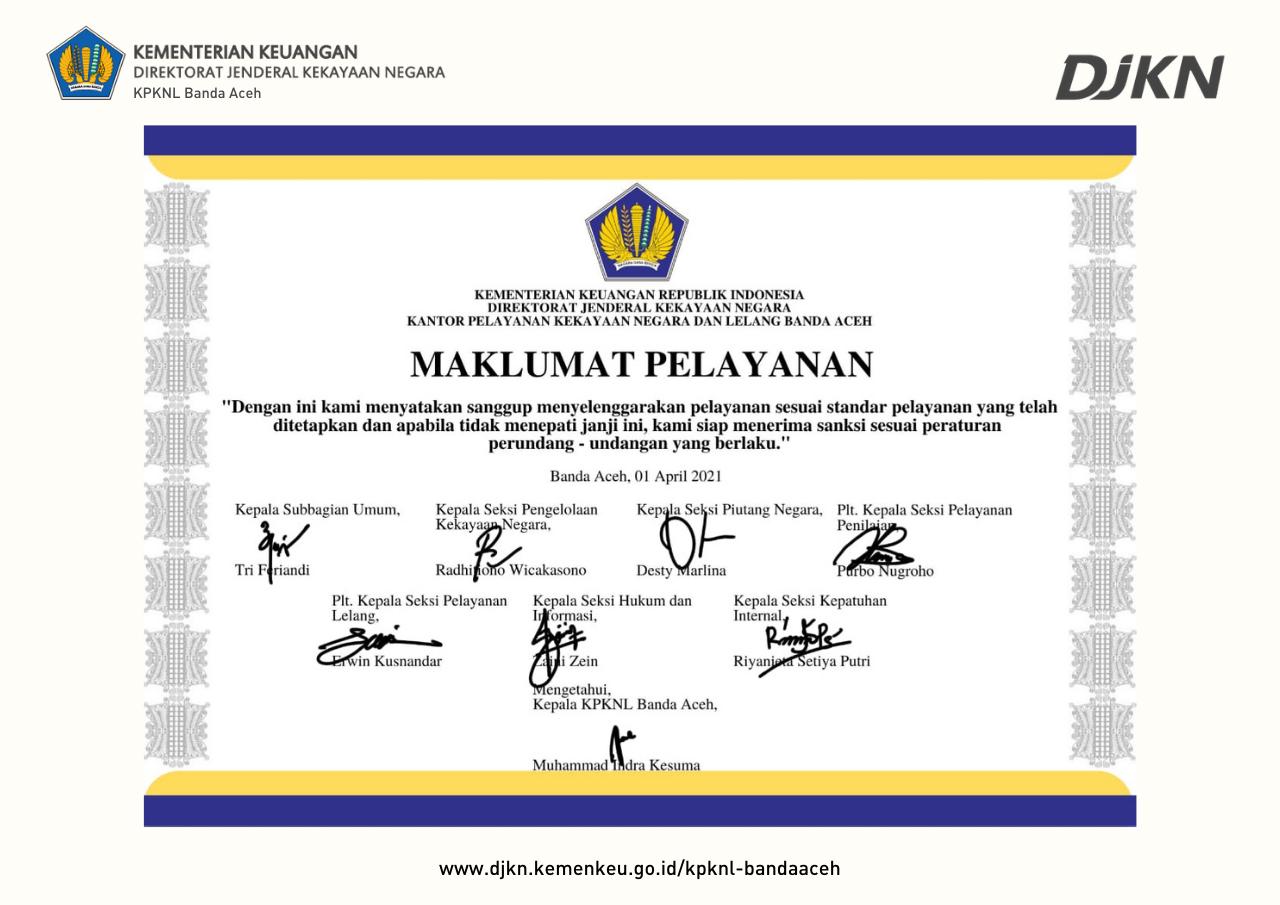Maklumat Pelayanan KPKNL Banda Aceh