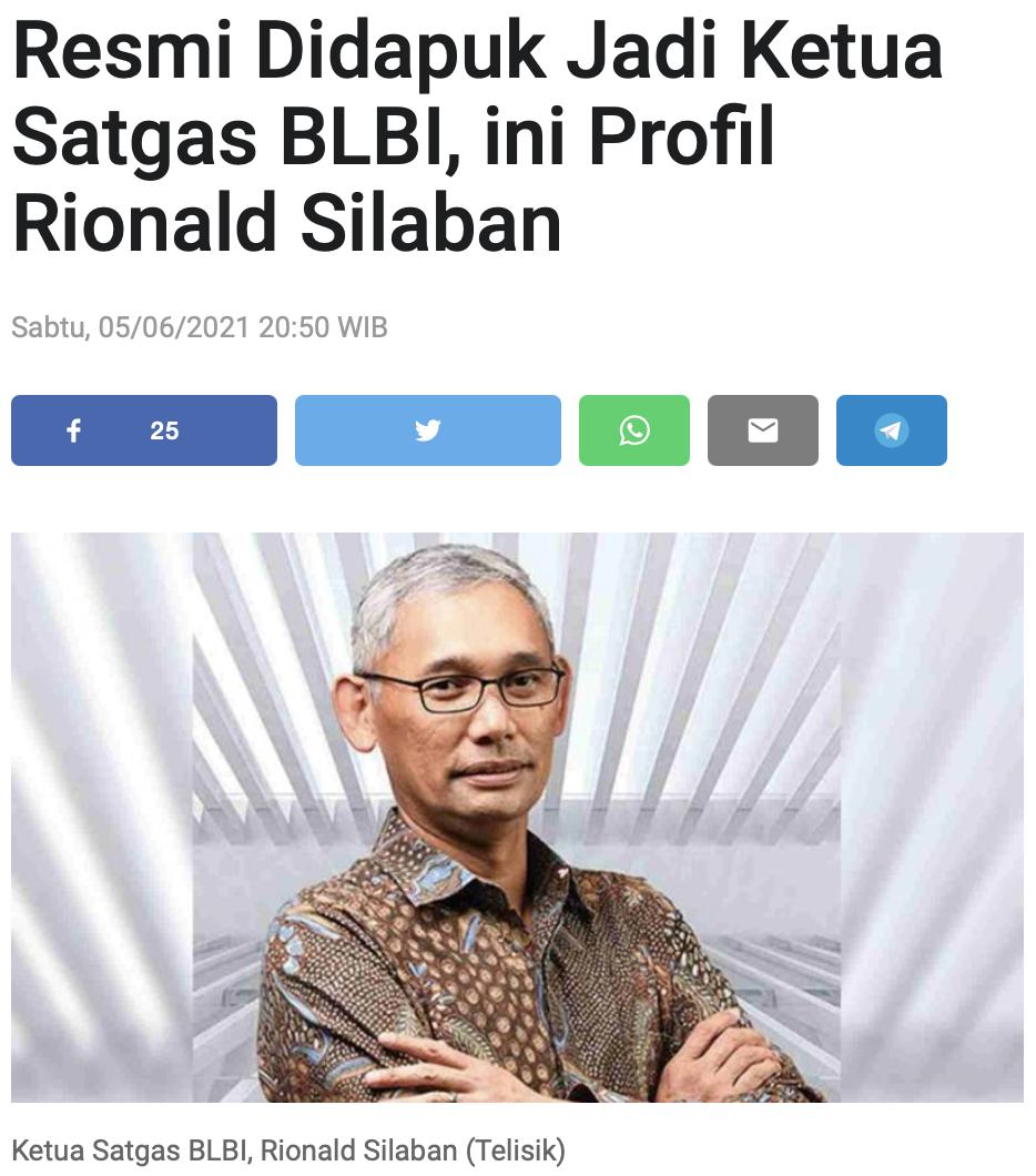 Resmi Didapuk Jadi Ketua Satgas BLBI, ini Profil Rionald Silaban