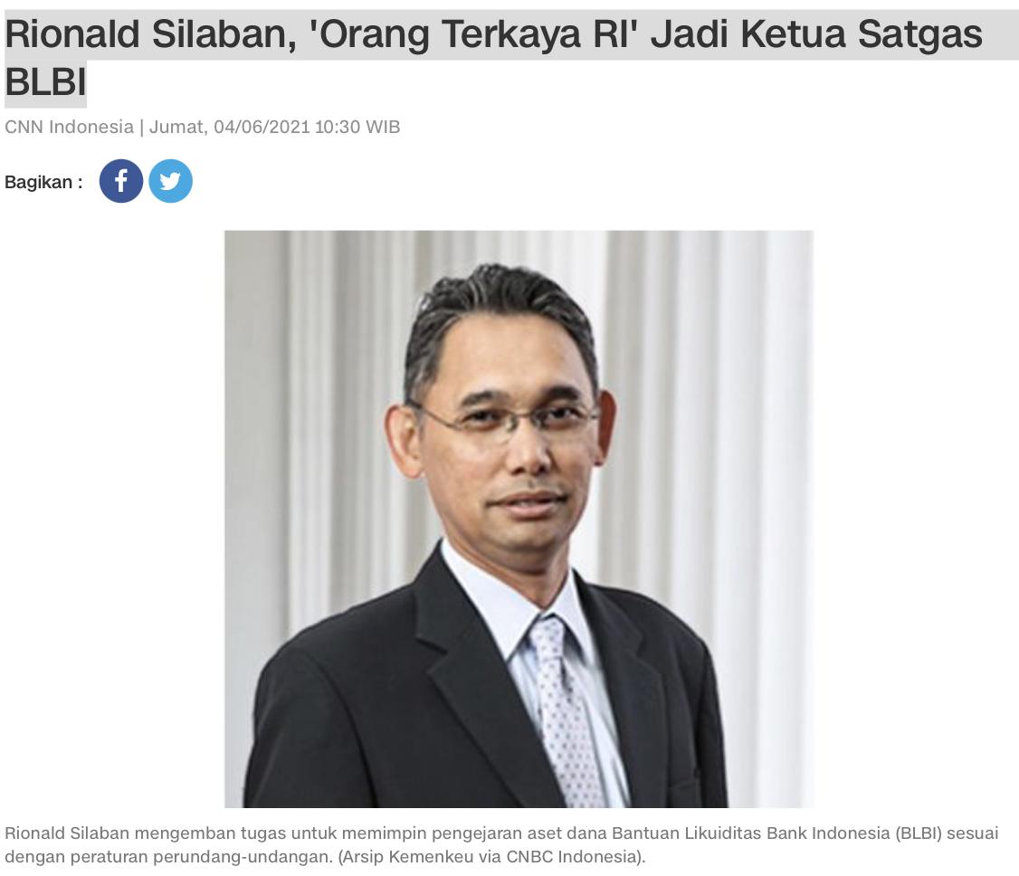 Rionald Silaban, 'Orang Terkaya RI' Jadi Ketua Satgas BLBI