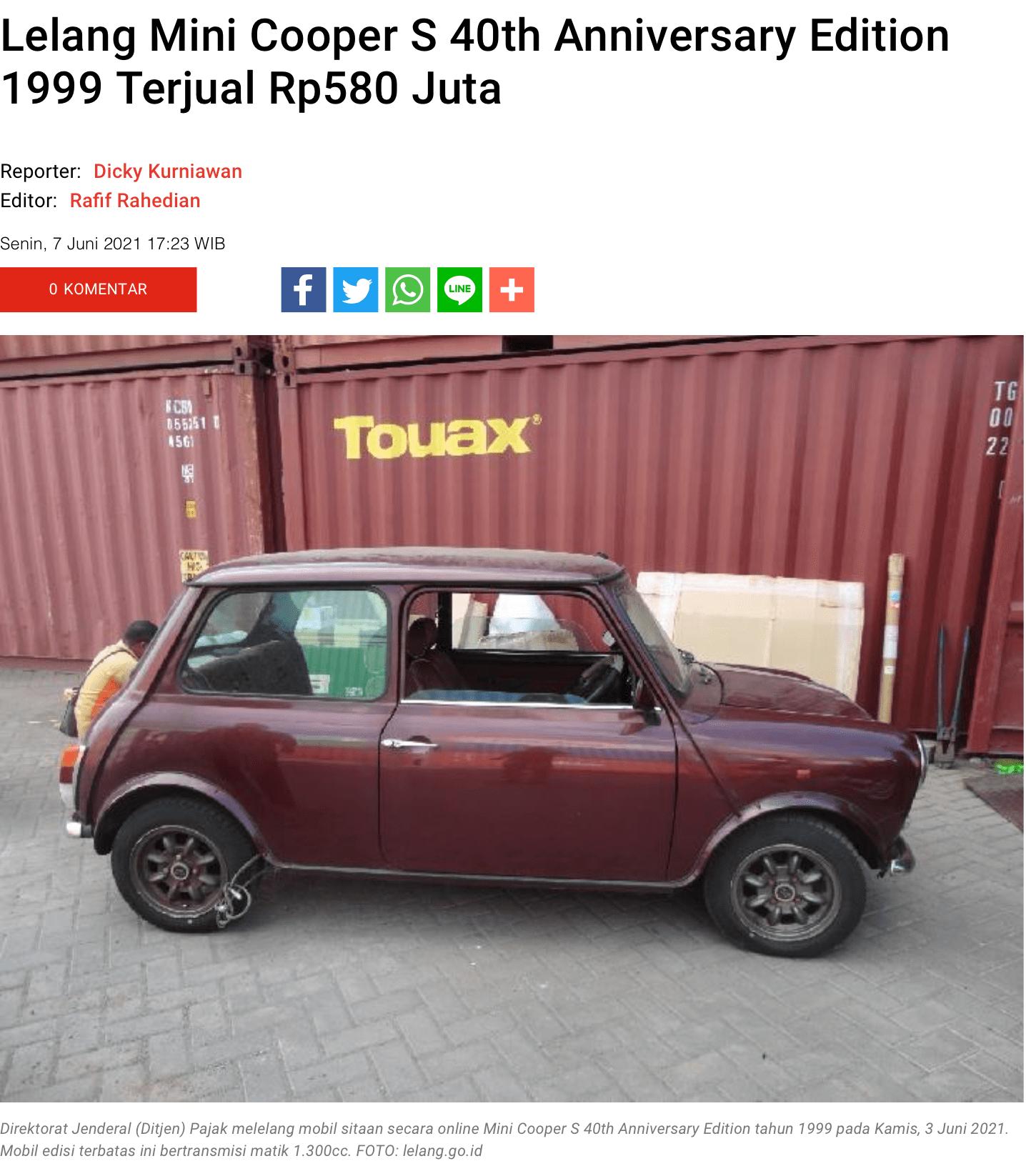 Lelang Mini Cooper S 40th Anniversary Edition 1999 Terjual Rp580 Juta