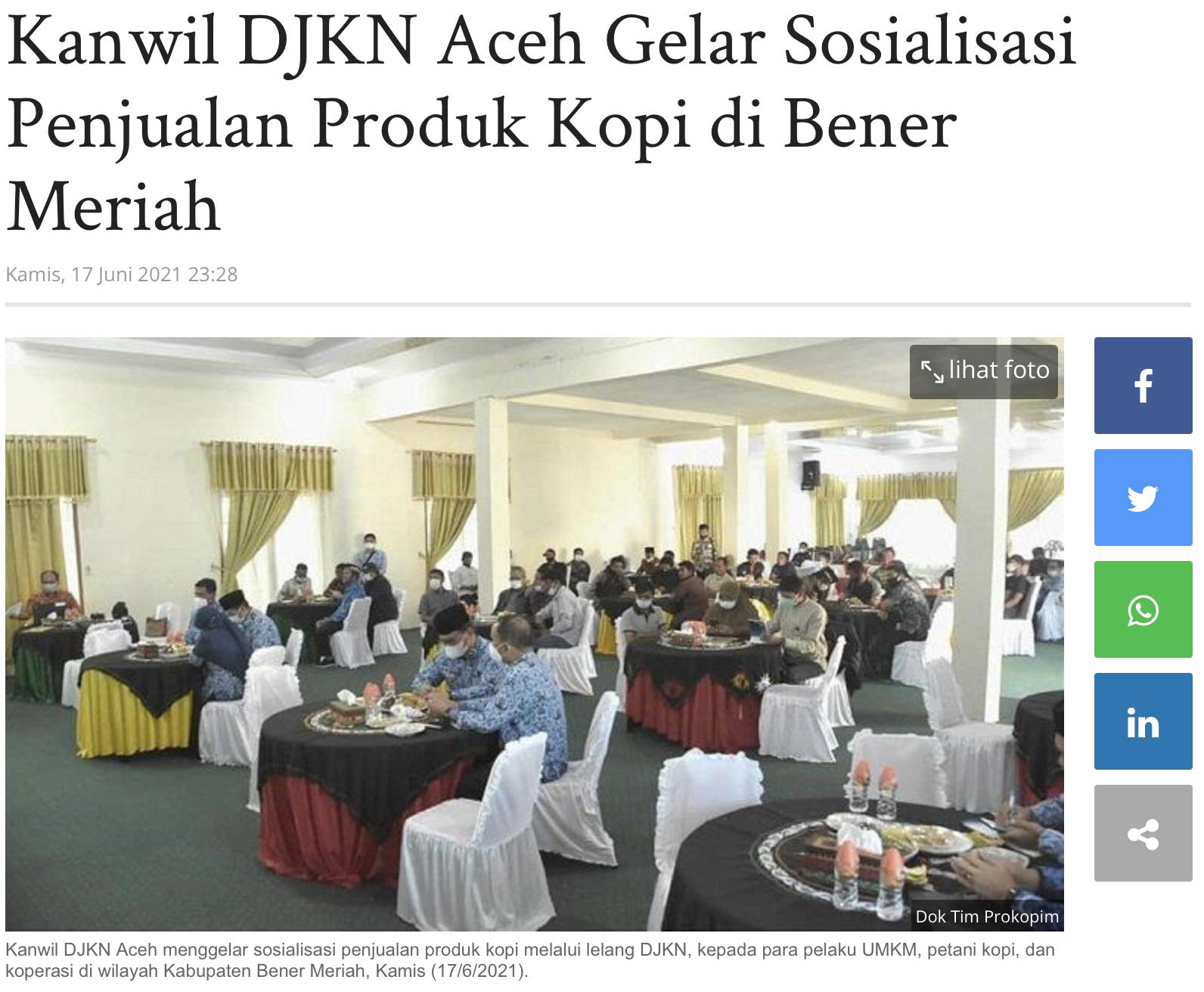 Kanwil DJKN Aceh Gelar Sosialisasi Penjualan Produk Kopi di Bener Meriah