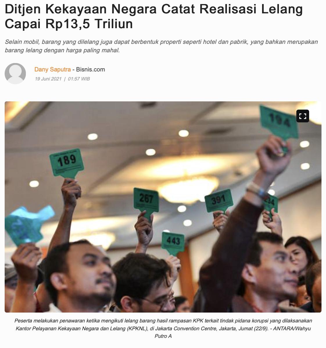 Ditjen Kekayaan Negara Catat Realisasi Lelang Capai Rp13,5 Triliun