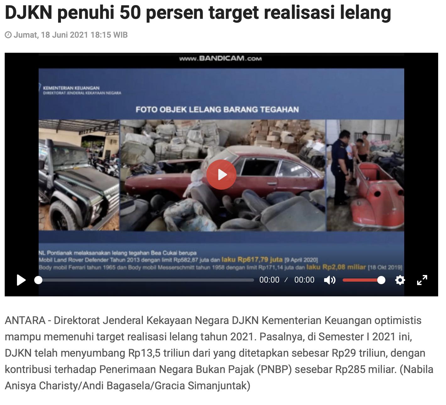 DJKN penuhi 50 persen target realisasi lelang