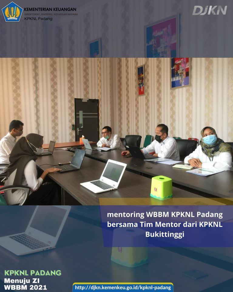 Tim Sekretariat WBBM KPKNL Padang melakukan mentoring WBBM bersama Tim Mentor dari KPKNL Bukittinggi